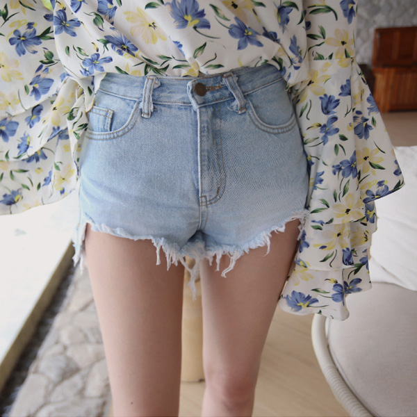 Busted Hem Mini Denim Shorts