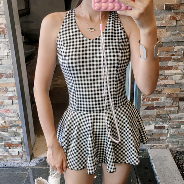 Gingham Swimsuit Dress