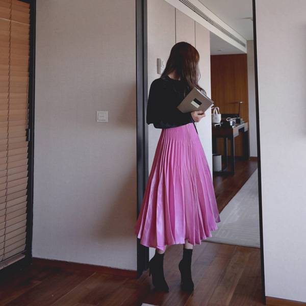 Glossy Pleated Midi Skirt