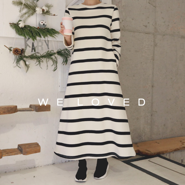 Striped Flare Midaxi Dress