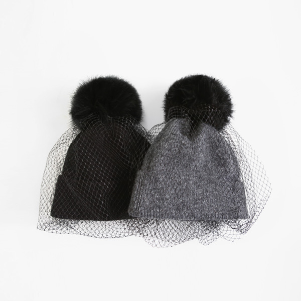 Net Accent Bobble Hat