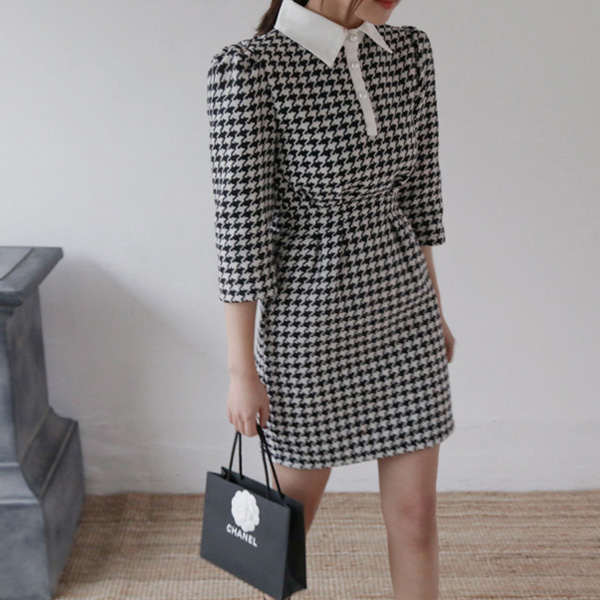 Collared Houndstooth Dress