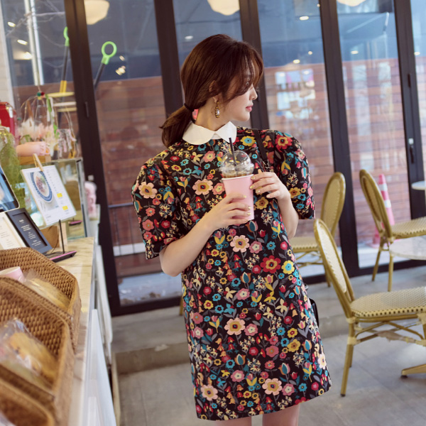 Puffed Sleeve Floral Shift Dress