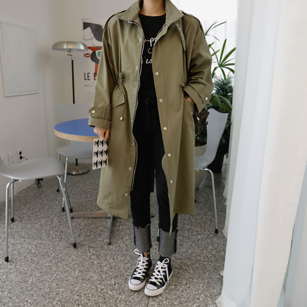 High Collar Drawstring Waist Coat