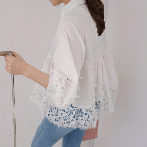 Lace Panel Flared Blouse