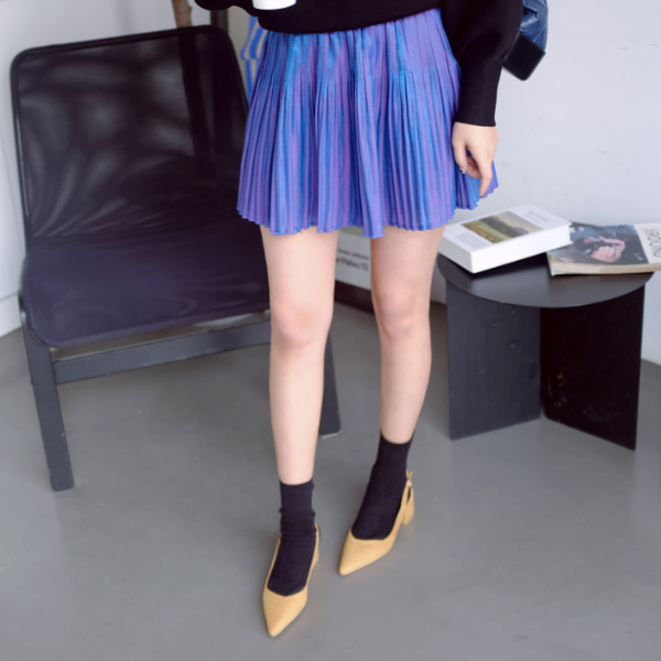 Crystal Pleat Flared Mini Skirt