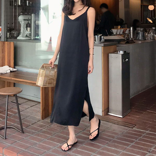 Side Slit V-Neck Slip Dress