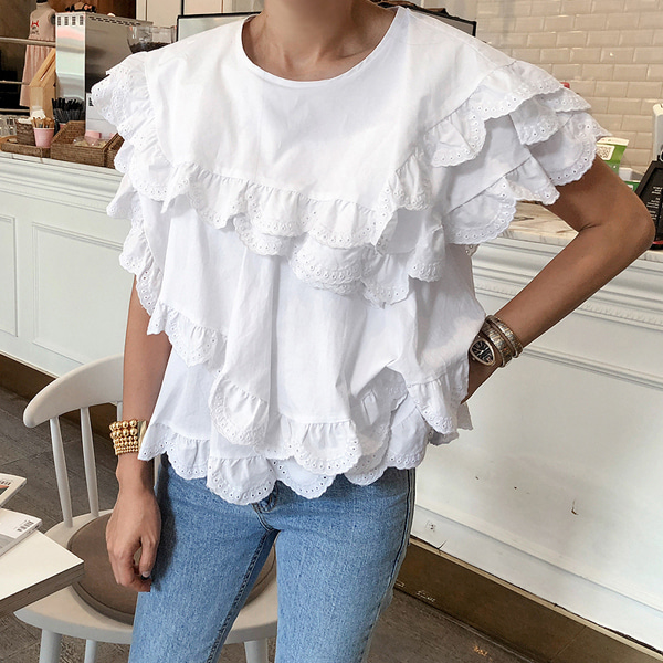 Broderie Anglaise Trim Tiered Blouse