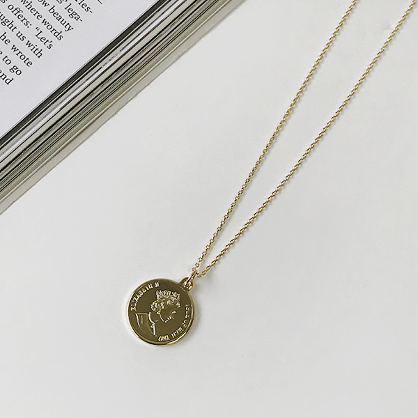 Coin Pendant Slim Chain Necklace
