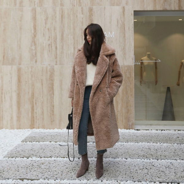 Wide Lapel Fuzzy Coat