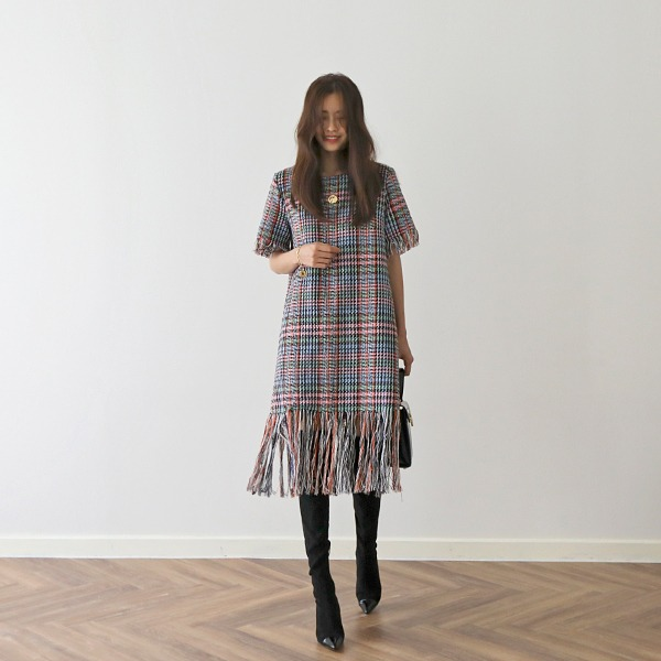 Fringe Trim Tweed Dress