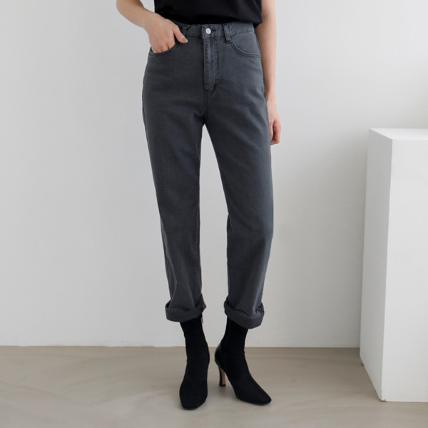 Button Closure Straight Cut Pants