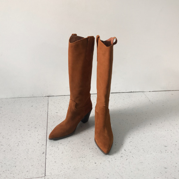 Pointed Toe Stacked Heel Tall Boots