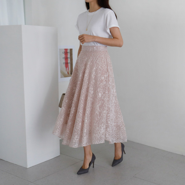 Textured Sheer Overlay A-Line Skirt