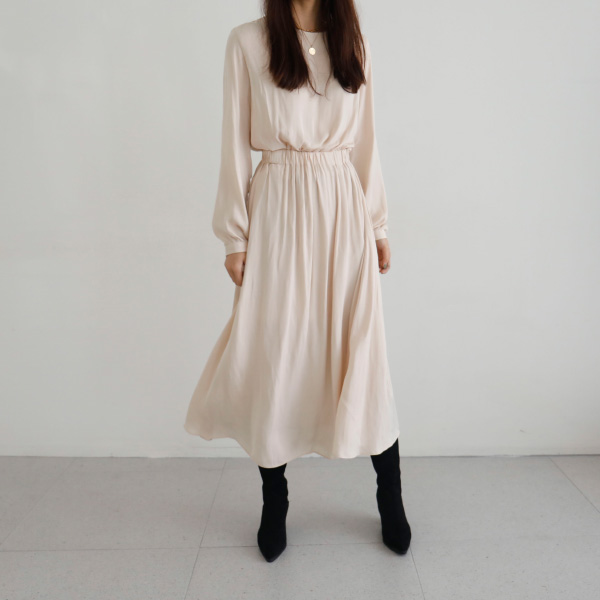 Solid Tone Long Sleeve Dress