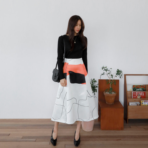 Abstract Pattern Color Block Skirt