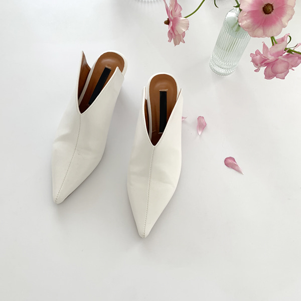 Pointed Toe Synthetic Leather Mules