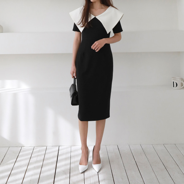 Wide Pointed Collar Sheath Dress