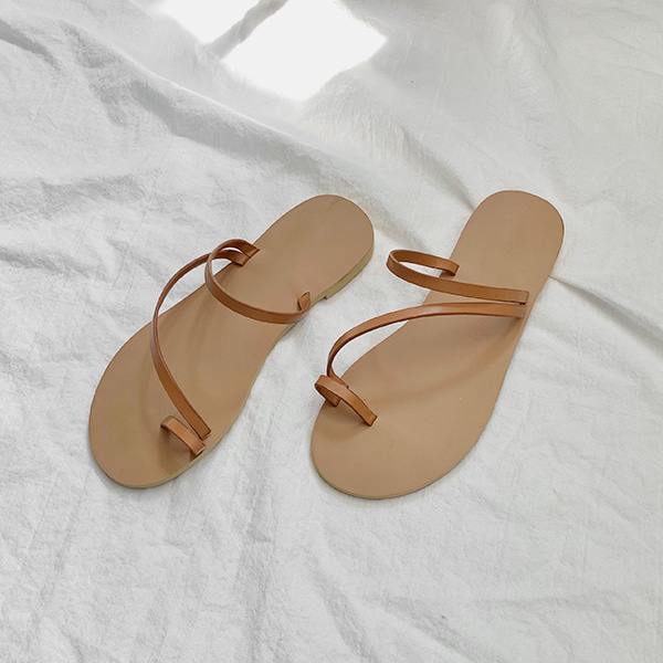 Toe Loop Slim Strap Slide Sandals