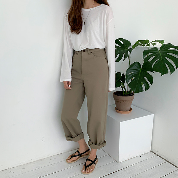 Button Fly Straight Cut Baggy Pants