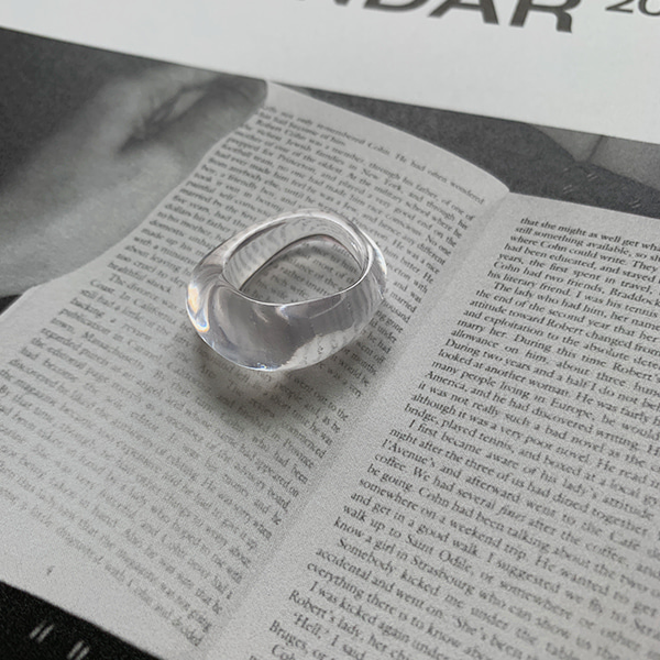 Asymmetrical Band Clear Ring