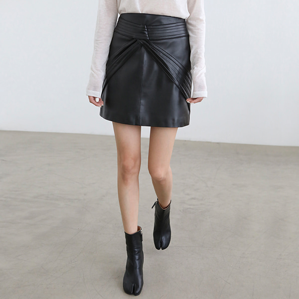 Stitched Panel Faux Leather Skirt