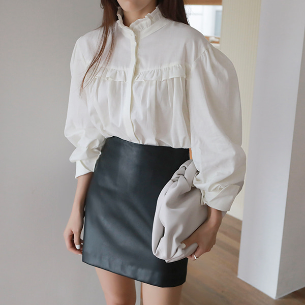 Frill Trim Balloon Sleeve Loose Blouse