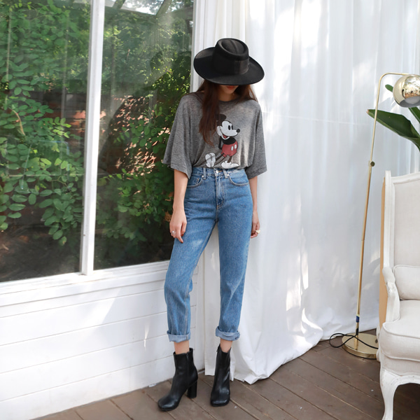 Straight Cropped Denim Pants