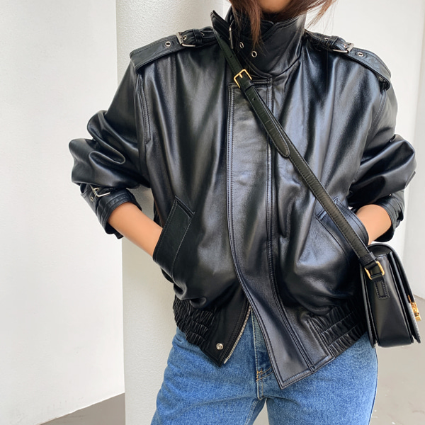 High Collar Shirred Hem Leather Jacket