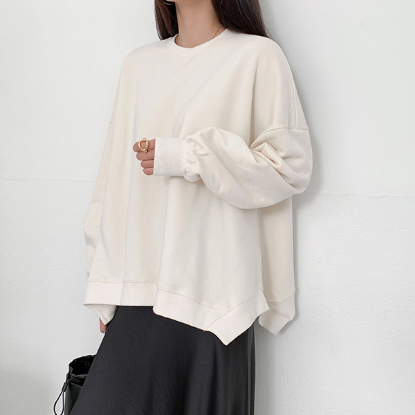 Asymmetrical Hem Loose Sweatshirt