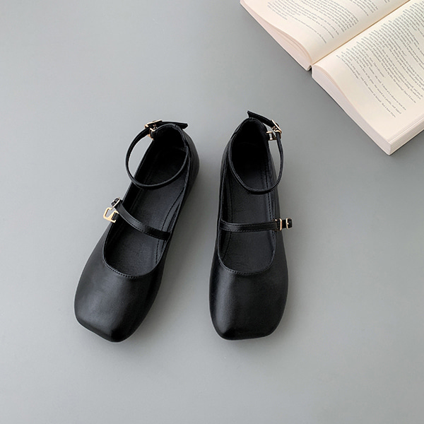 Square Toe Buckled Strap Flats