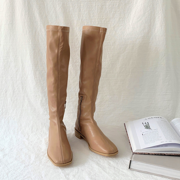 Square Toe Low Heel Tall Boots