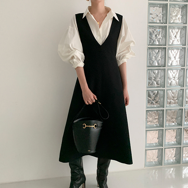 Plunging V-Neck A-Line Pinafore Dress