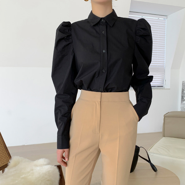Puffed Shoulder Button-Down Blouse