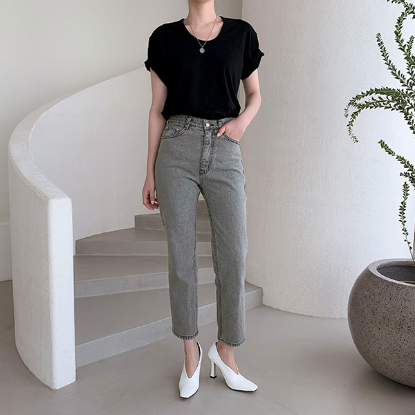 High Waist Cropped Straight Denim Pants