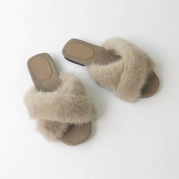 Fuzzy Strap Slide Sandals