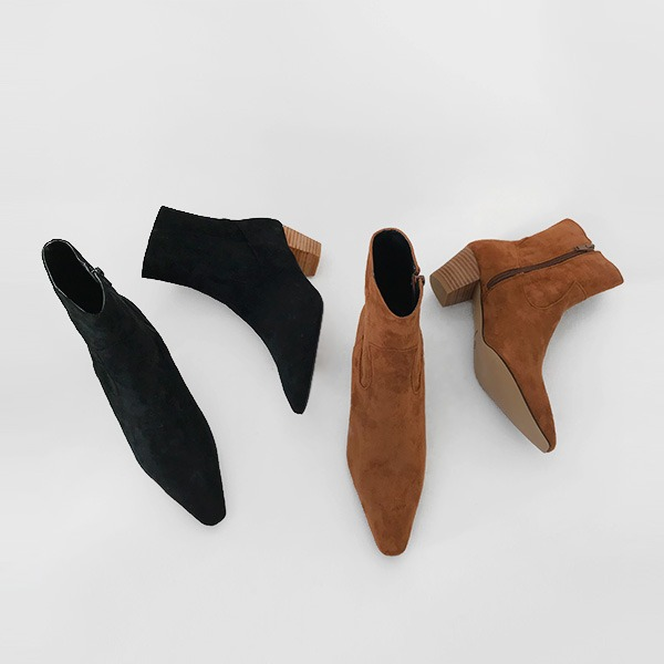 Pointed Toe Mid-Heel Boots