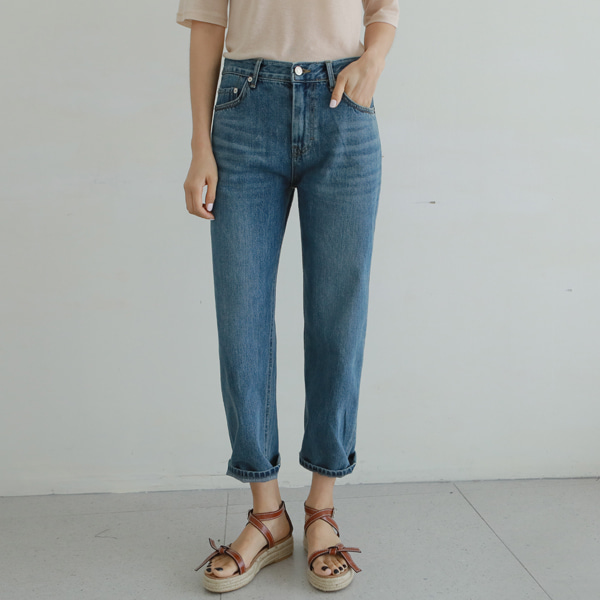 Whisker Wash Straight Leg Denim Pants