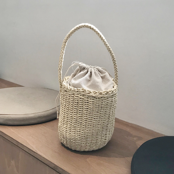 Drawstring Top Woven Bucket Bag