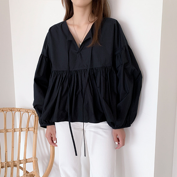 Ruched Detail Balloon Sleeve Loose Blouse