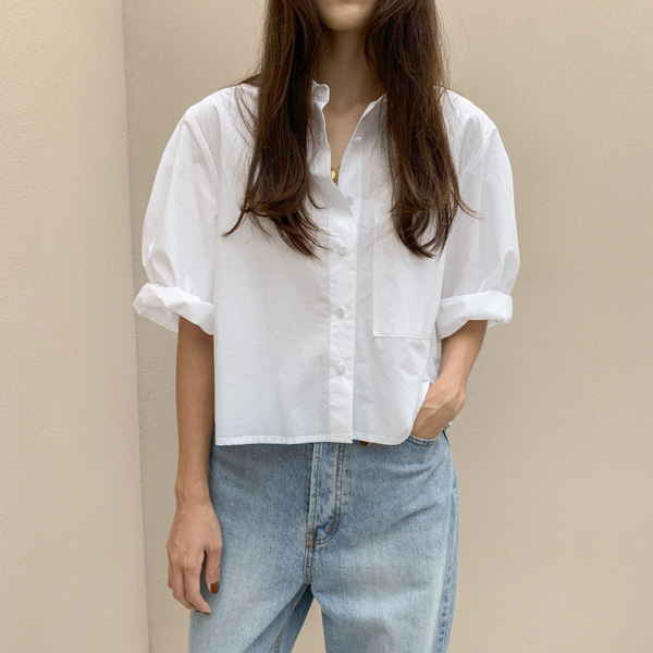 Cropped Loose Button-Down Shirt