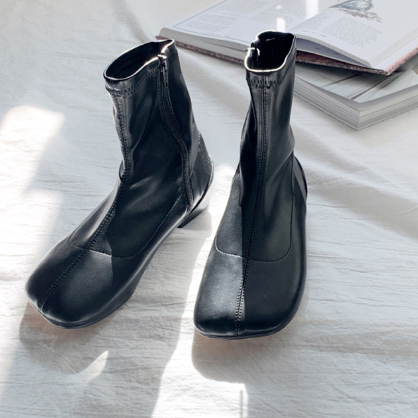 Square Toe Low Heel Boots
