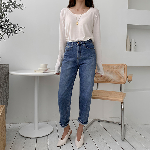 High Waist Straight-Cut Denim Pants