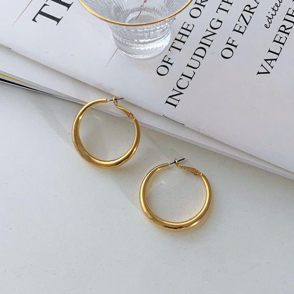 Omega Back Gold-Tone Hoop Earrings